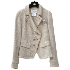Chanel 10A Beige Crested Double Breasted Jacket