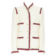 CHANEL 10A Paris-Shanghai white tweed crochet trim officer jacket FR44