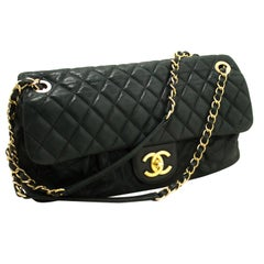 "CHANEL 11"" Chain Flap Shoulder Bag Black Quilted Glitter Coated Leather"