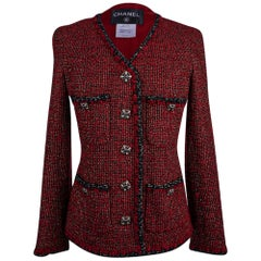 Chanel 11A Jacket Burgundy Red Tweed Gripoix CC Buttons 40 /6