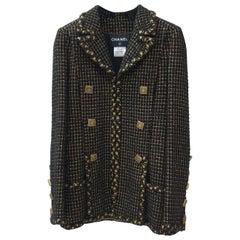 Chanel 11A Paris-Byzance Black Gold Gripoix Buttons Jacket Coat