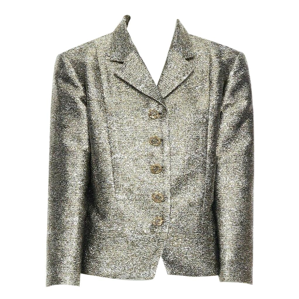 CHANEL 12A metallic silver gold quartz 3/4 sleeves cropped boxy jacket FR50