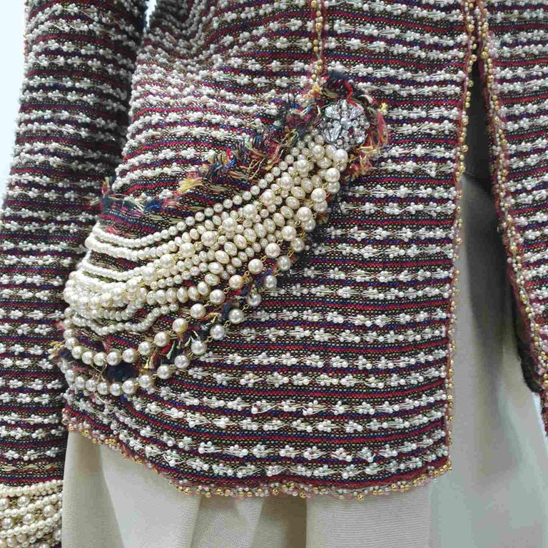 Chanel 12A Paris Bombay Pearl Chain Jacket Skirt Suit In Excellent Condition For Sale In Kiev, UA