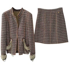 Chanel 12A Paris Bombay Pearl Chain Jacket Skirt Suit