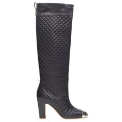 CHANEL 12C black diamond quilted leather metal CC toe knee high tall boot EU38