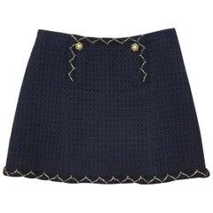 Chanel 15A Paris-Saltsburg Blue Lesage Braided Trim Suit Skirt
