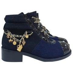 Chanel 15A Paris - Salzburg Blue Wool Ankle Boots CC