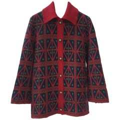 Chanel  15A Salzburg Cashmere Red Black Cardigan Jacket