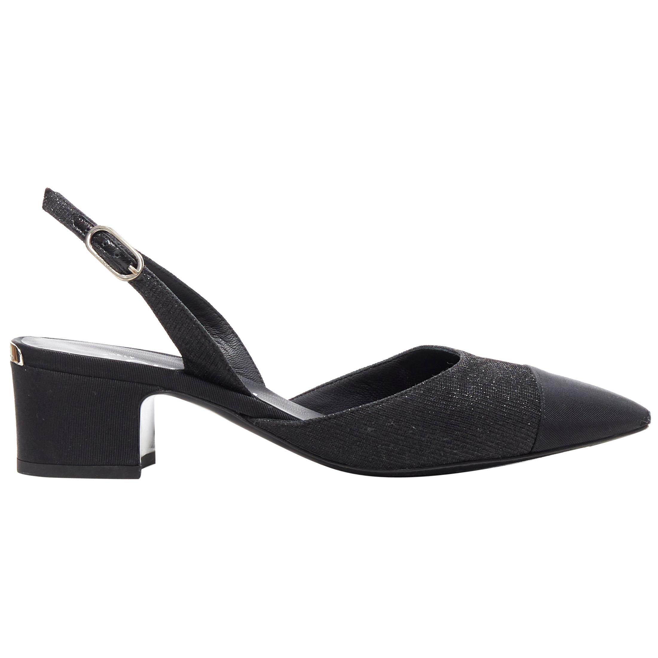CHANEL 17B black glittery grosgrain toe cap logo chunky heel slingback pump EU36