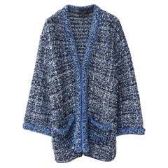 CHANEL 17S Runway Blue Knit Cardigan