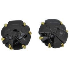 Chanel 18 Carat Yellow Gold and Onyx Camelia Flower Ear Clip Earrings