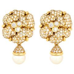 Chanel 18 Karat Flower with Pearl Earrings