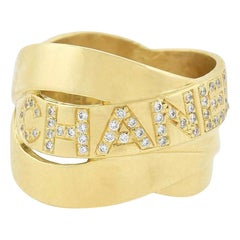 "Chanel 18 Karat Gold Diamond ""Bolduc"" Ring"