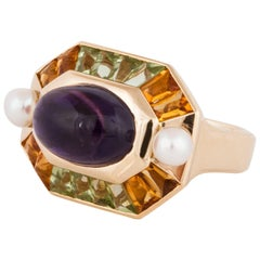 Chanel Gemstone and Pearl Ring in 18K Yellow Gold