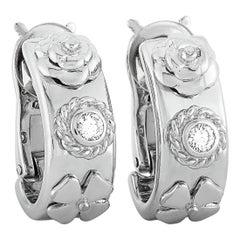 Chanel 18 Karat White Gold 0.35 Carat Diamond Three Symbol Clip-On Earrings