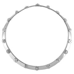 Chanel 18 Karat White Gold 1.00 Carat Diamond Three Symbol Necklace