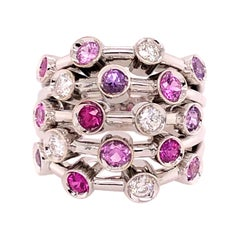 Chanel 18 Karat White Gold 5-Row Diamond, Pink Sapphire, Ruby Ring