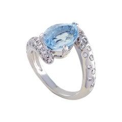 Chanel 18 Karat White Gold Diamond and Aquamarine Ring