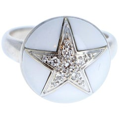 Chanel 18 Karat White Gold Diamond and White Ceramic Dome Shape Star Ring