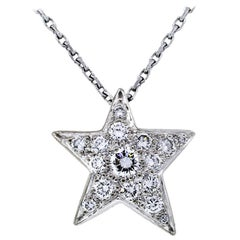 Chanel 18 Karat White Gold Diamond Comet Star Necklace