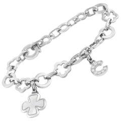 Chanel 18 Karat White Gold Diamond Floral Link Charm Bracelet