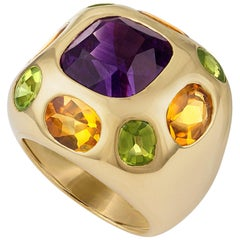 Chanel 18 Karat Yellow Gold Amethyst, Citrine and Peridot Ring
