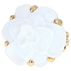 Chanel 18 Karat Yellow Gold and White Agate Camelia Flower Ring