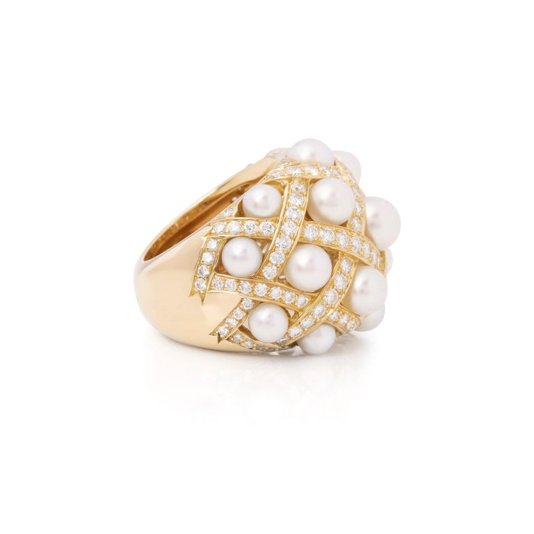 Chanel 18 Karat Yellow Gold Cultured Pearl Baroque Matelassé Ring In Excellent Condition For Sale In Bishop's Stortford, Hertfordshire