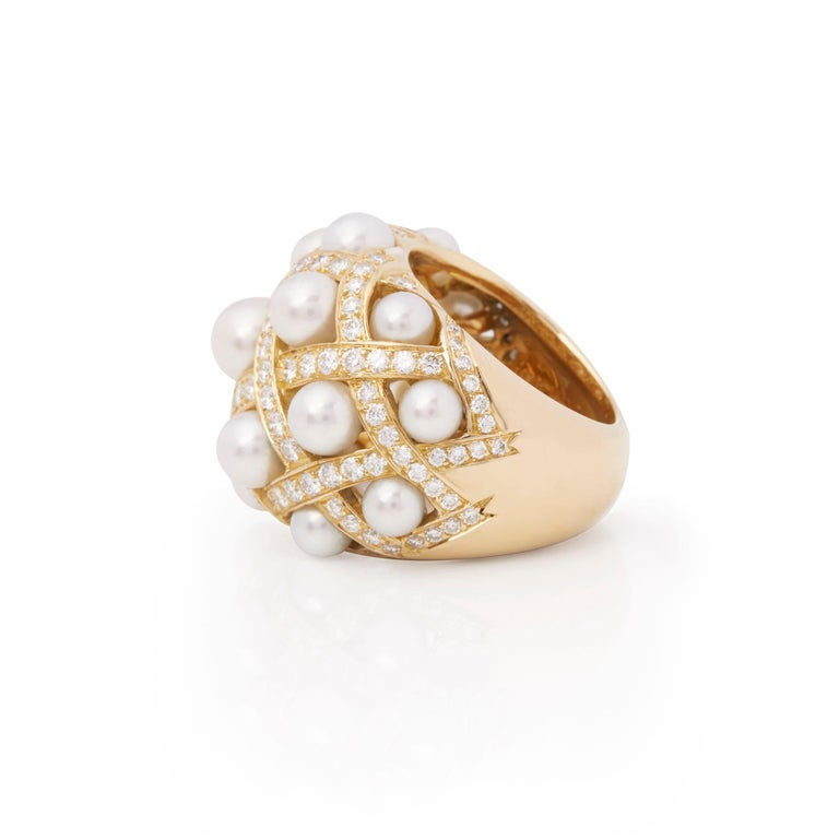 Women's Chanel 18 Karat Yellow Gold Cultured Pearl Baroque Matelassé Ring For Sale