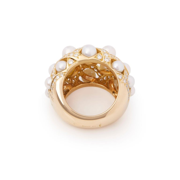 Chanel 18 Karat Yellow Gold Cultured Pearl Baroque Matelassé Ring For Sale 2
