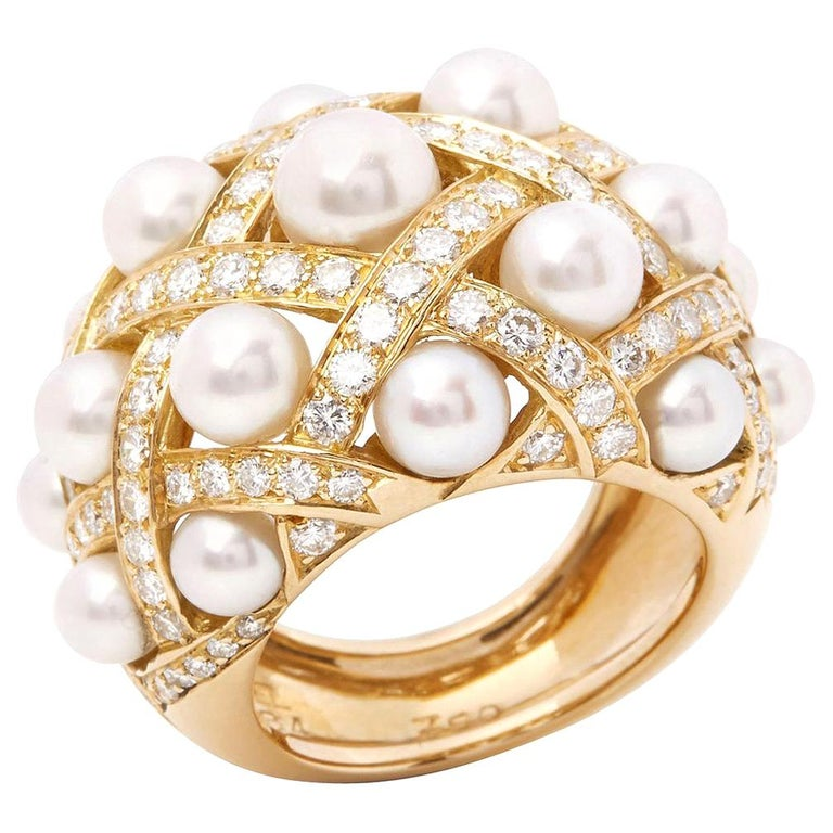 Chanel 18 Karat Yellow Gold Cultured Pearl Baroque Matelassé Ring For Sale
