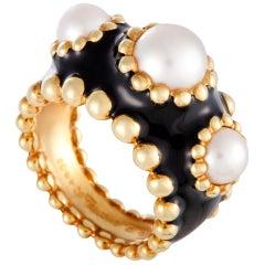 Chanel 18 Karat Yellow Gold Pearl and Enamel Band Ring