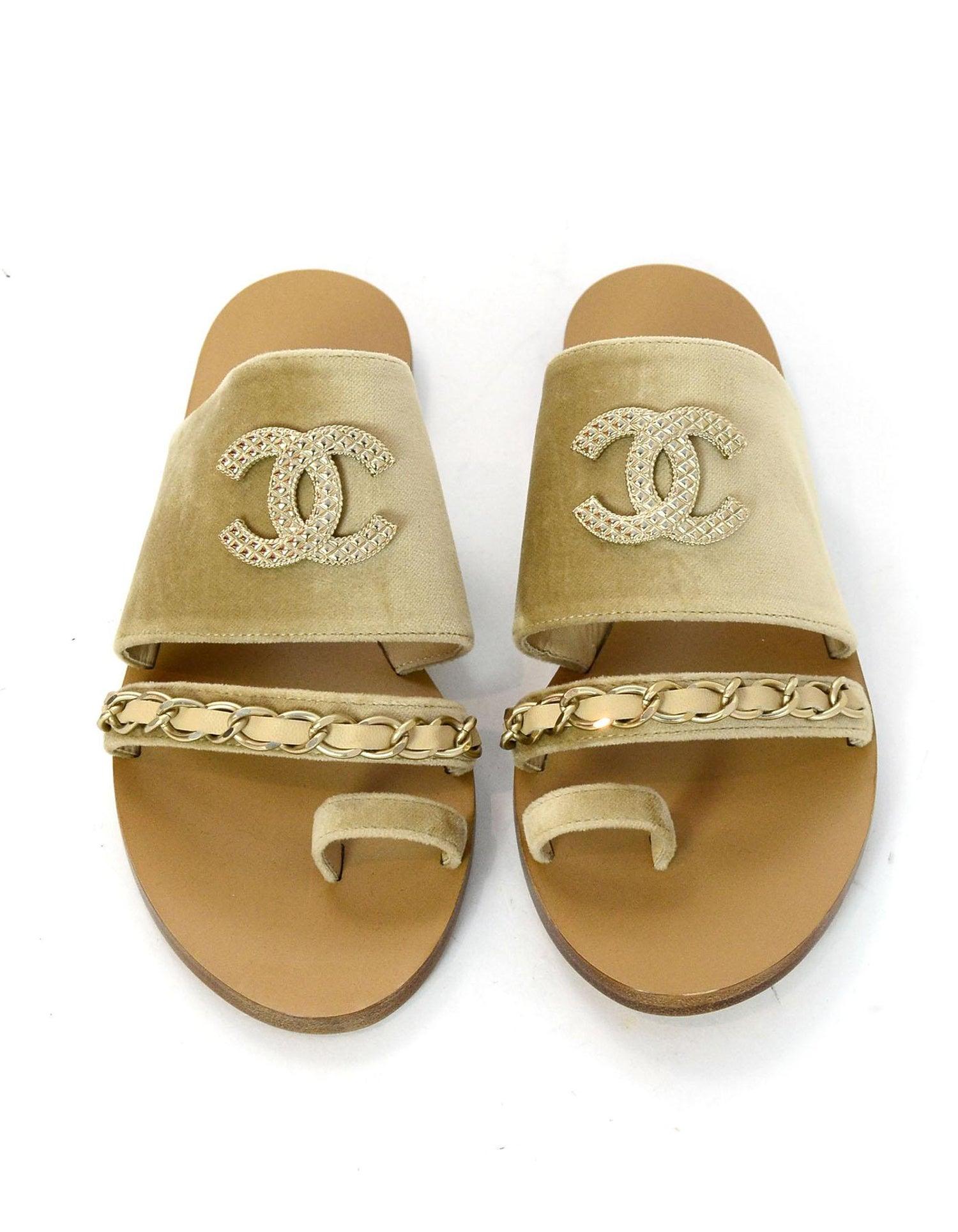 e542297cea40 Chanel 18C Beige Tan Velvet CC Chain Goldtone Sandals Sz 38 For Sale at  1stdibs
