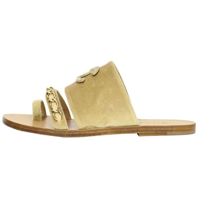 2d73f0a5983d Chanel 18C Beige Tan Velvet CC Chain Goldtone Sandals Sz 38 For Sale ...