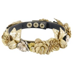 Chanel 18C Gold Leather Floral CC Choker Necklace