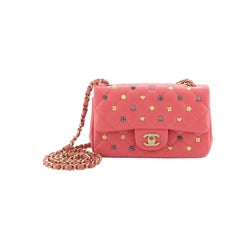 Chanel 18K Charms Classic Single Flap Bag Quilted Lambskin Mini