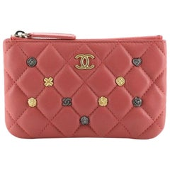 Chanel 18K Charms O Case Pouch Quilted Lambskin