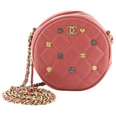 Chanel 18K Charms Round Clutch With Chain Quilted Lambskin Mini