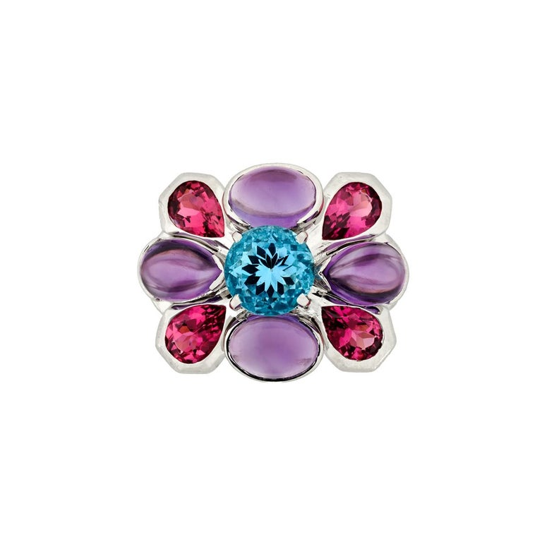 Chanel Aquamarine Amethyst and Tourmaline Ring in 18K White Gold In Excellent Condition For Sale In Houston, TX