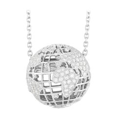 Chanel 18k White Gold 2.20 Ct Diamond Globe Necklace