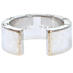 Chanel 18k White Gold Cuff Open Band Ring 16.5g