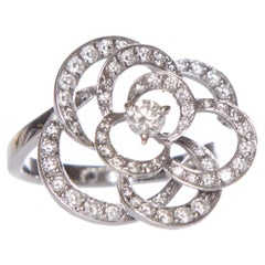 CHANEL 18K White Gold Flower Ring With Diamonds Size 6