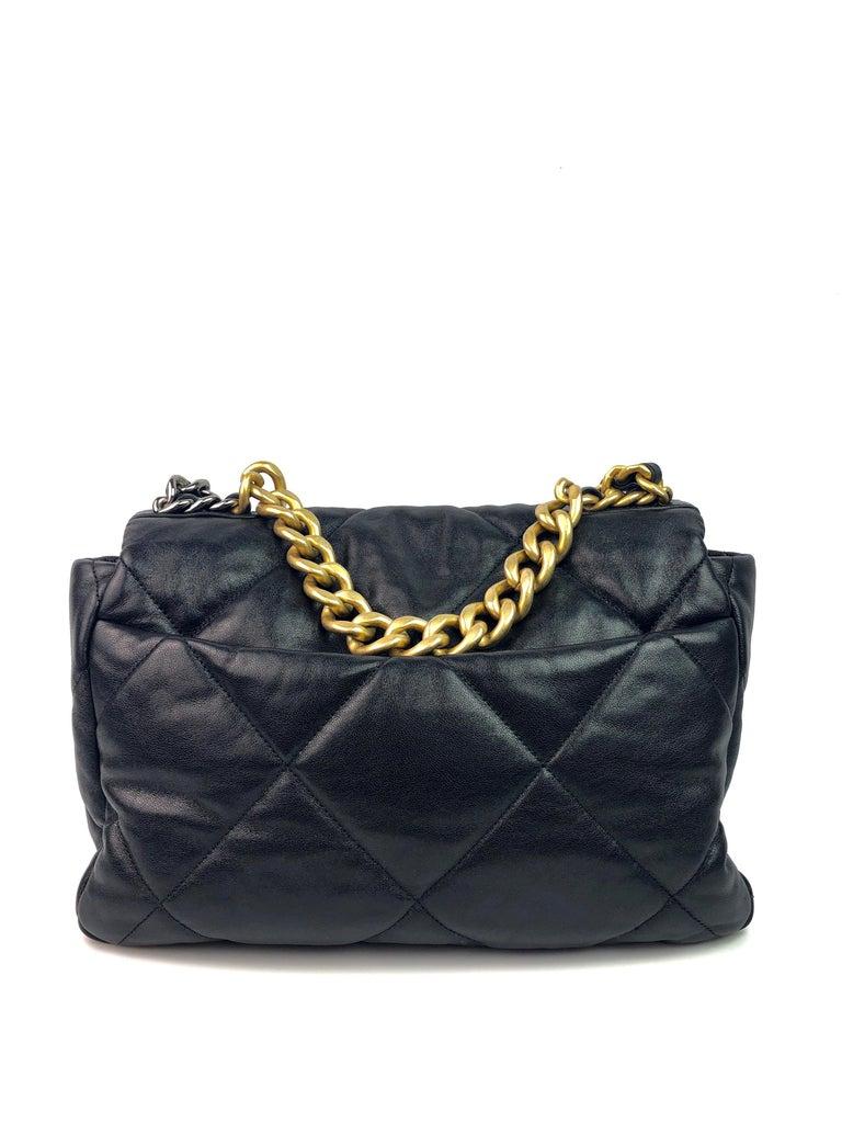 Like new Chanel 19 Flap Bag 20s Black Goatskin. Full set with box.