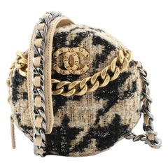 Chanel 19 Round Clutch with Chain and Coin Purse Quilted Tweed