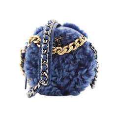 Chanel 19 Round Clutch with Chain Quilted Shearling