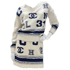 Chanel 19 SS Long Sleeves Jumper Skirt Suit Sz.36-38