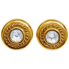 Chanel 1970s Goldtone Earrings with Large Rhinestone
