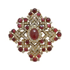 Chanel 1970's Vintage Ruby Gripoix Brooch