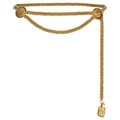 Chanel 1980s 31 Rue Cambon Gold Chain Belt with Embossed Medallions & Dog-tag