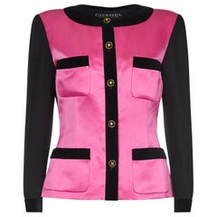 Chanel 1980s Boucle Black Wool and Pink Satin Jacket